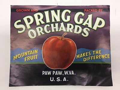 Rare Spring Gap Orchards Mountain Fruit Apple Crate Label Paw Paw W VA 1950's