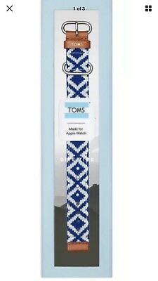 TOMS Blue Woven Apple Watch Band 38mm Blue And White NIB