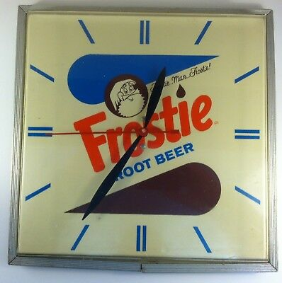 Vintage Frostie Root Beer Synchron Wall Mount Clock Sign