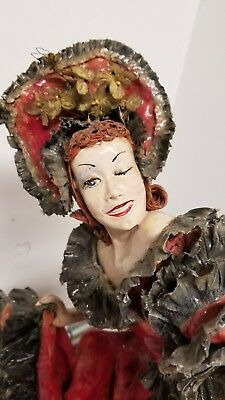 "Vintage 21""  Paper Mache Doll Saloon Cancan Girl~Woman"