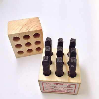 Young Bros Stamp Works 3/16 inch Steel Set 9 Figure Number Character MADE IN USA