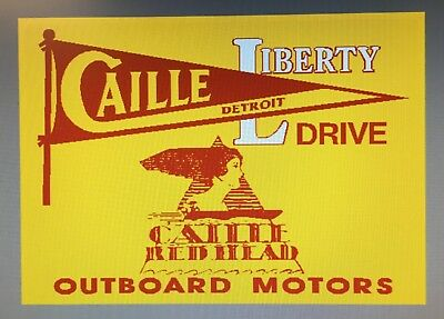 Caille Liberty Drive Red Head outboard motors metal sign 12 x 18 new Marina