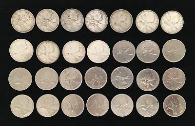 Lot of 28 CANADIAN QUARTERS (1937-2003) - Eleven 80% Silver