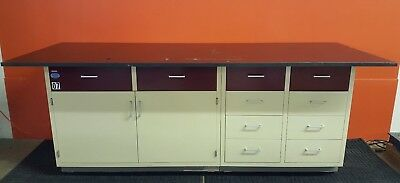 Industrial Laboratory Base Cabinet 10 Drawers + Storage Area Includes Resin Top