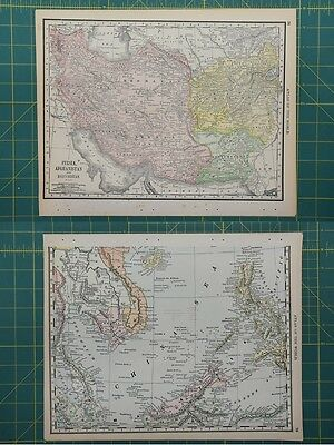 Middle Eastern Countries Vintage Original 1892 Rand McNally World Atlas Map Lot