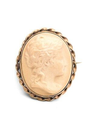 Antique Victorian Lava Cameo Brooch 19Th Century Carved