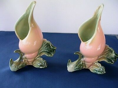 Vintage Hull Mid-Century Ebb Tide Two Fish  Shell Vase  Pair Of Pink And Green