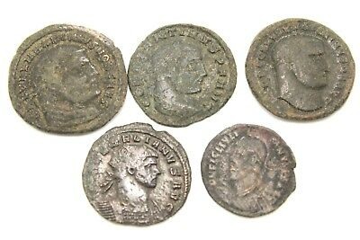 LATER ROMAN IMPERIAL COINS. LOT OF FIVE. FOR CLEANING.  1v738