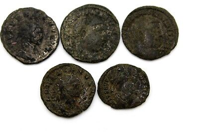 ANCIENT FIVE LATER ROMAN IMPERIAL COINS. FOR CLEANING.  1v723