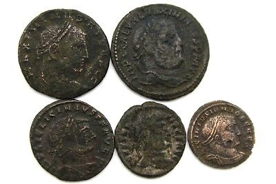 FIVE LATER ROMAN IMPERIAL COINS. FOR CLEANING.  1v710