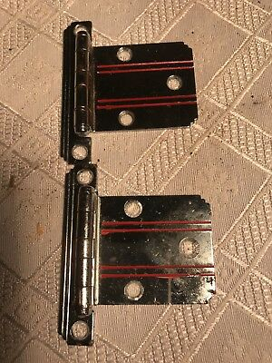 2 Art Deco Hinges Chrome with Red Lines new old stock.          FREE SHIPPING