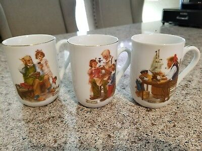 """Norman Rockwell - Lot Of 3 Museum Mugs 1982 - 4"""" Tall"""