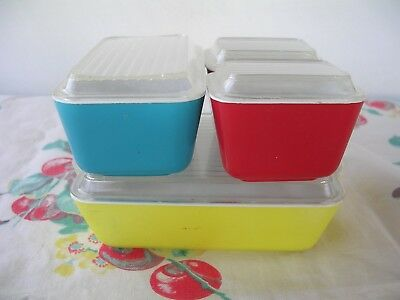 Vintage Banner Toy Pyrex  Refrigerator Dishes Primary Colors Set Of 4 W / Lids