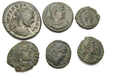 LOT OF SIX LATER ROMAN IMPERIAL COINS.   1v736