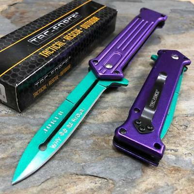 """TAC-FORCE Joker """"Why So Serious?"""" Green Blade Fantasy Outdoor Pocket Knife"""