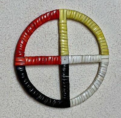 Native American Lakota Sioux Quilled Medicine Wheel.