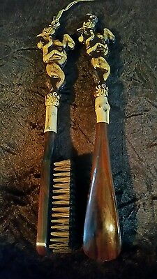 vintage horse and jockey shoe horn and brush