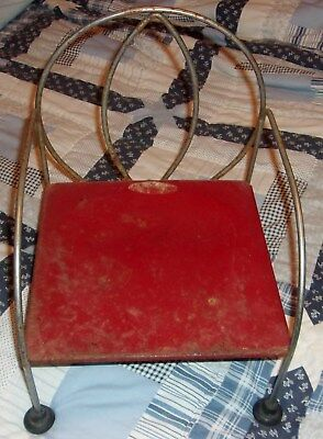 antique childrens red metal chair art deco rare display collectible decor
