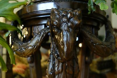 19C English Gothic Carved Oak Rams Head Plant Stand/Pedestal