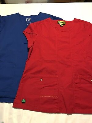 Women's Size Medium Blue and red Scrub Tops  crocs/icu by barco