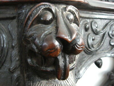 19C English Gothic-Carved/Sculptured Mahogany Console Table Lions/Tudor Roses