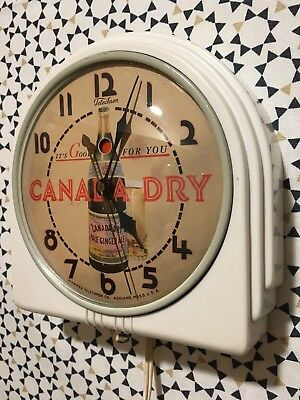 Vintage Electric Telechron Clock Canada Dry Ginger Ale It's Good For You Sign