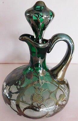 Vintage Antique Silver Overlay Cruet with Green Glass Shading to Clear