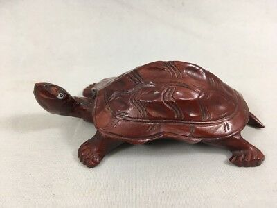 Hand Carved Wooden Turtle Figurine Dark Wood Turtle Terrapin Collectible