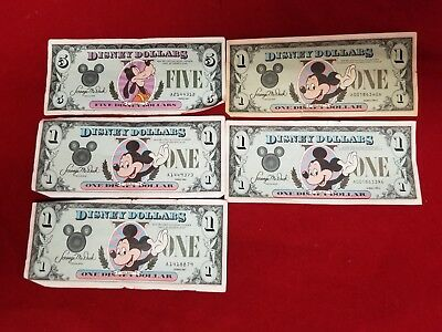 DISNEY DOLLARS 5 and 1 DOLLARS UNITED STATE 1987 SERIES GOOFY MICKEY MOUSE