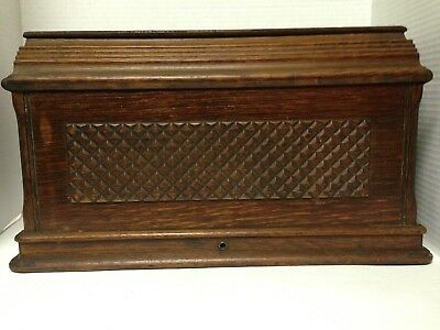Antique 1888 Singer Treadle Sewing Machine Wood Coffin Cover Bonnet Shabby Chic
