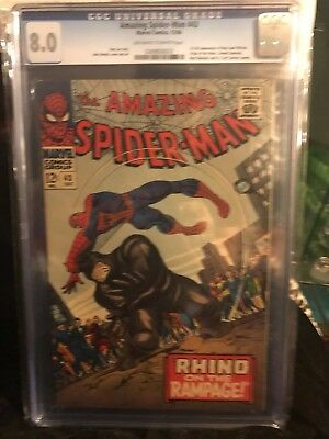 Amazing Spiderman #43 Cgc 8.0  Oww Origin Of Rhino 1St Full Mj!! Free Shipping!
