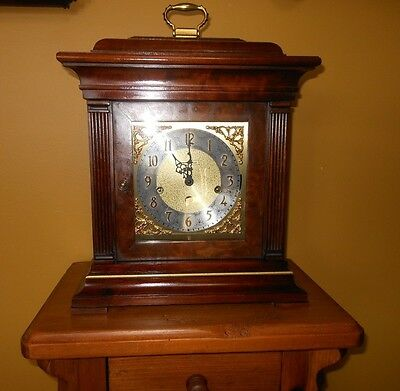 Howard Miller Georgian Style Mahogany Bracket Clock With Westminster Chimes
