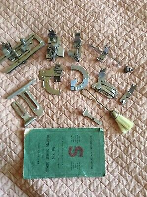 Antique Original Singer 66 Back-clamping Attachments Complete Set with Manual