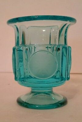Fostoria COIN GLASS Light Blue Footed Cigarette Urn 1372 381 * WOW *  HTF *