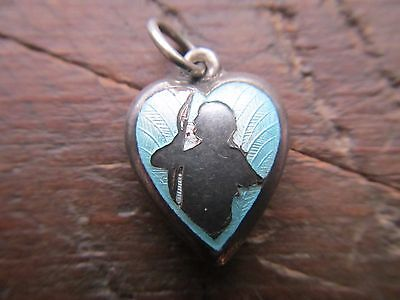 VINTAGE 1940's Sterling Silver BLUE ENAMEL Cupid & Bow Puffy Heart Charm