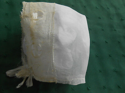 Antique White Organdy Baby Bonnet With Lace And Ribbon Trim, Circa 1915