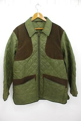 Barbour Men's Keeperwear Quilted Jacket Olive Green Brown Suede XL