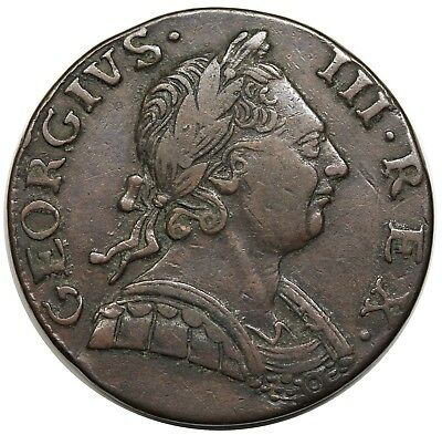 1775 Contemporary Non-Regal Great Britain Halfpenny, George III, nice XF