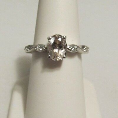 Size 8 Genuine Morganite & White Zircon Sterling Silver Ring ATGW 1.22cts