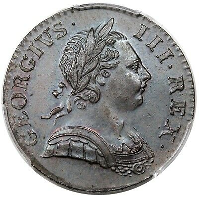 1770 Great Britain Halfpenny, George III, S-3774, PCGS MS63BN, choice