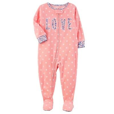 Carters 3T Girls Pink LOVE Fleece PJs Polka Dot Floral Zip-Up Footed Pajamas NWT