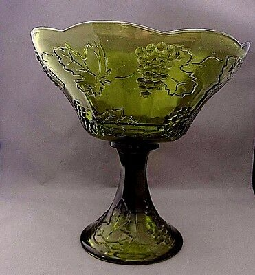 Vintage Indiana Glass Colony Harvest Olive Green Grapevine Compote