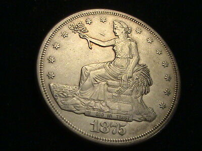 1875 S Silver Trade Dollar, full bold liberty     S732