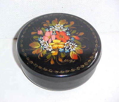 Adorable VINTAGE Hand Painted SIGNED FLORAL Black TOLE WARE Tin TRINKET BOX