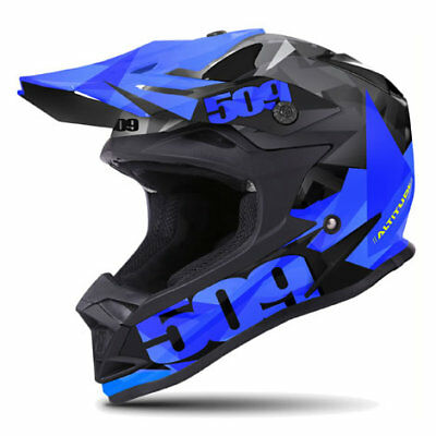 509 Altitude Mat Blue Triangles Black Off Road Snowmobile Winter Helmet Large 2X