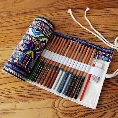 Stationery Canvas Pen Roll Up Bag Curtain Ball Pen Box 36 Holes Pencil Case