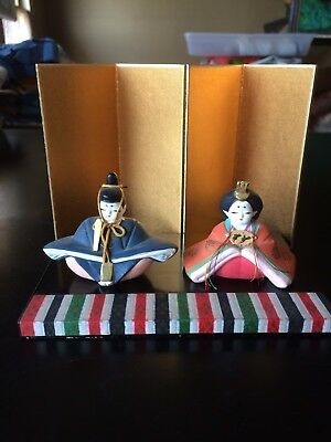 Japanese  Ceramic Hina Dolls Set w/ Stand And Screen For Girl's Day