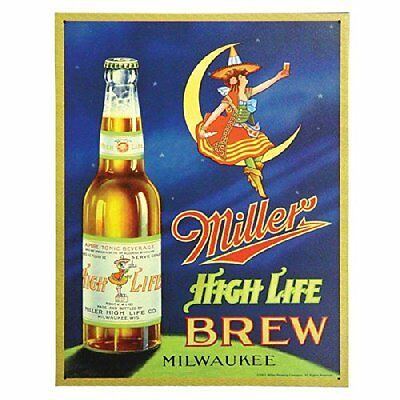 "Miller High Life Brew Beer Vintage Retro Style Metal Tin Sign New 13""W x 16""H"