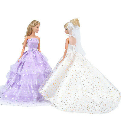 2 Pcs Handmade Doll Clothes Princess Dress Wedding Party Gown For Girl Dolls A