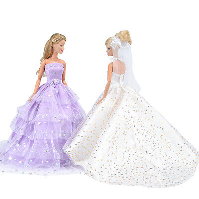 2 Pcs Handmade Doll Clothes Princess Dress Wedding Party Gown For Barbie Dolls A